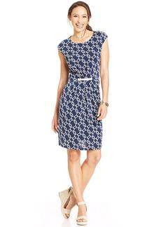 Charter Club Petite Cap-Sleeve Icon-Print Shift Dress