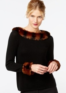 Charter Club Cashmere 3/4 Sleeve Faux-Fur Trim Sweater