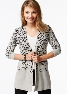 Charter Club Petite Cashmere Animal-Print Duster Cardigan