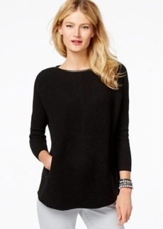 Charter Club Cashmere Leather-Trim Zip-Pocket Sweater