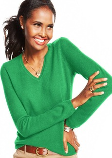 Charter Club Cashmere Long-Sleeve V-Neck Sweater