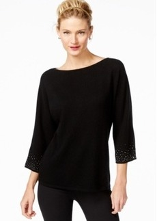 Charter Club Cashmere Studded Boat-Neck Sweater