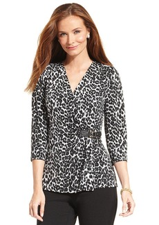 Charter Club Cheetah-Print Faux-Wrap Top