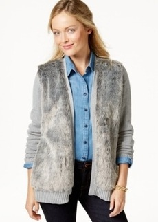 Charter Club Collarless Faux-Fur Cardigan, Only at Macy's