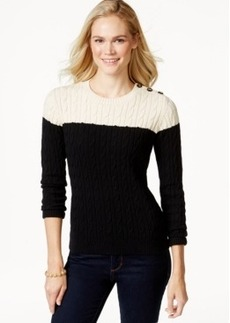 Charter Club Petite Colorblocked Cable-Knit Sweater, Only at Macy's