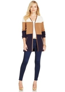 Charter Club Colorblocked Faux-Leather Trim Cardigan, Only at Macy's