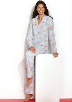 Charter Club Cotton Candy Fleece Notch Collar Top and Pajama Pants Set