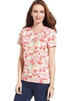Charter Club Crew-Neck Floral Pima Cotton Tee