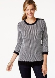 Charter Club Petite Crew-Neck Tweed Top, Only at Macy's