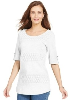 Charter Club Crochet Panel Top