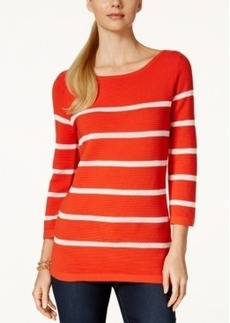 Charter Club Crochet Stripe Sweater, Only at Macy's