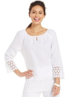 Charter Club Crochet-Trim Linen Tunic