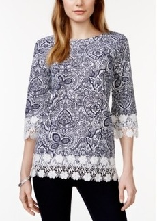 Charter Club Crochet-Trim Top, Paisley Print