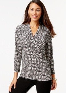 Charter Club Crossover Wrap Top, Scroll Print