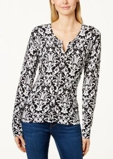 Charter Club Damask-Print Cardigan Sweater, Only at Macy's