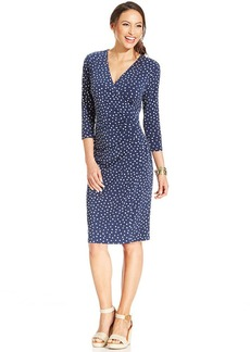 Charter Club Dot-Print Faux-Wrap A-Line Dress