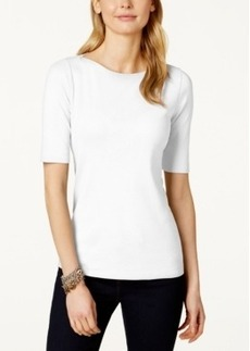 Charter Club Elbow-Sleeve Boat-Neck Pima Cotton T-Shirt, Only at Macy's
