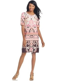 Charter Club Elbow-Sleeve Scroll-Print Shift Dress