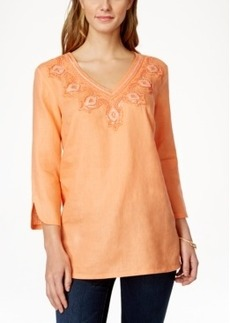 Charter Club Embellished Linen Tunic, Only at Macy's