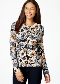 Charter Club Embellished Rose-Print Cardigan, Only at Macy's
