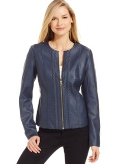 Charter Club Embossed Faux-Leather Jacket, Only at Macy's