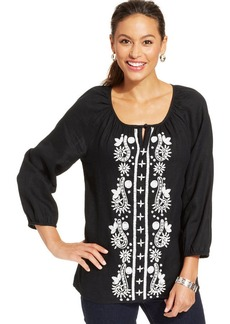 Charter Club Embroidered Peasant Tunic