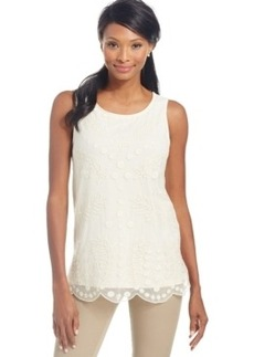 Charter Club Embroidered Scallop-Trim Sleeveless Top