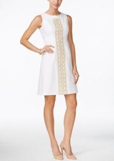 Charter Club Empire-Waist Metallic-Trim Dress, Only at Macy's