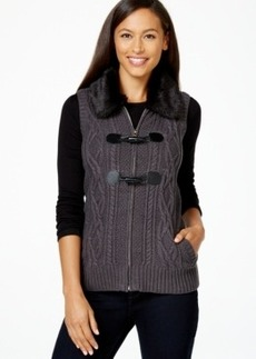 Charter Club Faux-Fur-Collar Sweater Vest, Only at Macy's