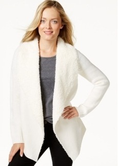 Charter Club Petite Long-Sleeve Faux-Fur Contrast Sweater, Only at Macy's