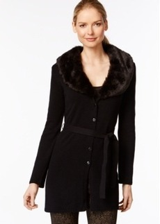 Charter Club Faux-Fur Trim Belted Cardigan, Only at Macy's