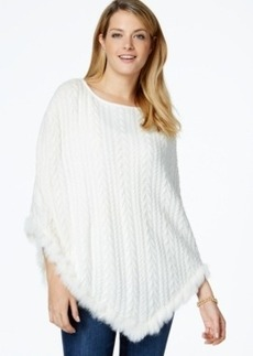 Charter Club Faux-Fur-Trim Poncho, Only at Macy's