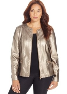 Charter Club Faux-Leather Metallic Jacket
