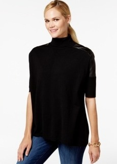 Charter Club Faux-Leather Panel Mock-Neck Top, Only at Macy's