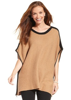 Charter Club Faux-Leather-Trim Knit Poncho