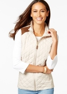 Charter Club Faux-Suede Trim Quilted Vest, Only at Macy's