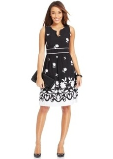 Charter Club Fit & Flare Border Print Dress