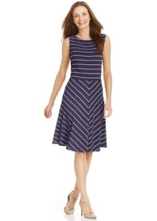 Charter Club Fit & Flare Contrast-Stripe Dress