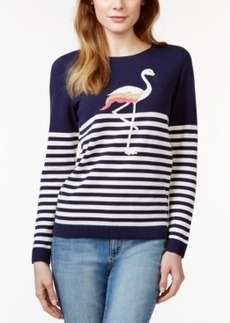 Charter Club Flamingo Print Striped Sweater, Only at Macy's