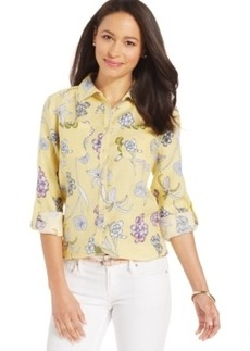 Charter Club Floral Linen 2-Pocket Shirt