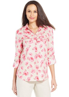 Charter Club Floral Linen Two-Pocket Utility Shirt