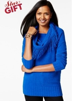Charter Club Fringed Detachable-Cowl Sweater, Only at Macy's