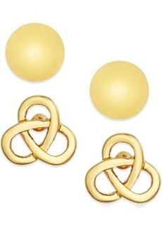 Charter Club Gold-Tone Ball and Knot Stud Earring Duo