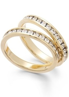 Charter Club Gold-Tone Glass Stone Ring Duo