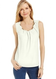 Charter Club Hardware-Trim Pleated Tank Top, Only at Macy's