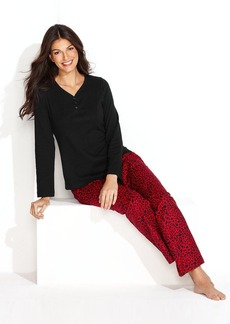 Charter Club Holiday Lane Mix It Knit Top and Flannel Pants Pajama Set