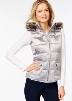 Charter Club Hooded Quilted Puffer Vest, Metallic