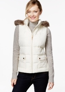 Charter Club Hooded Quilted Vest, Faux-Fur-Trim, Only at Macy's
