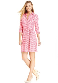 Charter Club Icon Print Belted Shirtdress