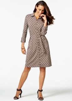 Charter Club Petite Iconic-Print Belted Dress, Only at Macy's